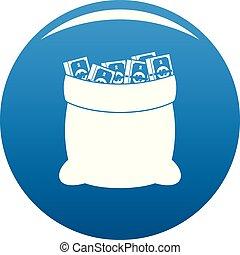Big bag money icon blue vector