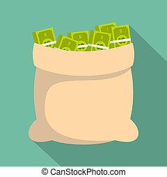 Big bag money icon, flat style