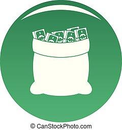 Big bag money icon vector green