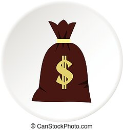 Big bag of money icon circle