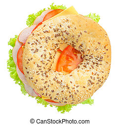 Big bagel sandwich solated (with path)