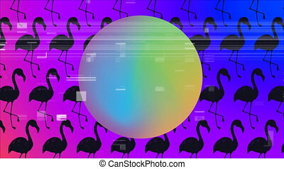Big ball with gradient colors. Black flamingo on background