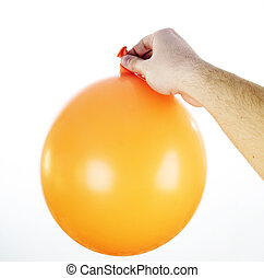Big ballon - Ballon in a man\'s hand isolated.