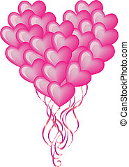 big balloon heart - big red balloon heart, vector background