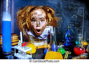 big bang - Funny little girl doing experiments in the ...