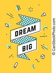 big., bannière, rêve, ruban, vendange