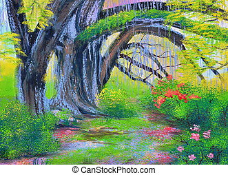 big banyan tree in the garden oil painting on canvas