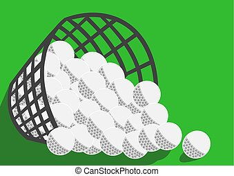 Big basket with many golf balls green background