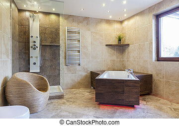 Big bathtub in a bathroom