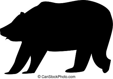 Big bear silhouette on the white background. Isolated.