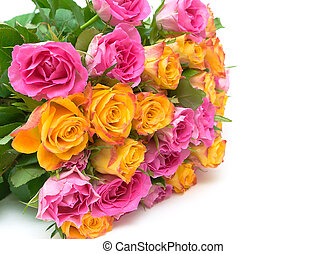 bouquet of fresh roses on a white background