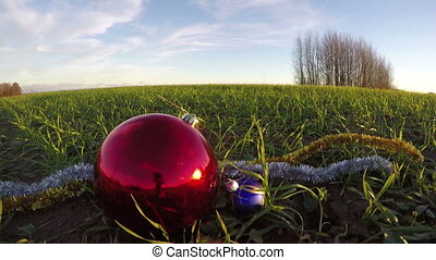 Big beautiful red Christmas bauble on December young wheat field, time lapse 4K