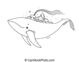 Big beautiful whale with houses and trees in the back. Hand...