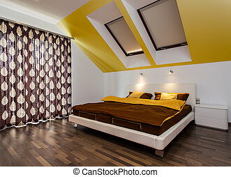 Big bed in modern bedroom