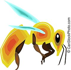 Big bee, illustration, vector on white background.