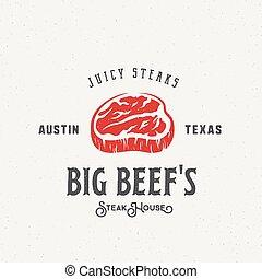 Big Beef Steak House Vintage Vector Label, Emblem or Logo ...