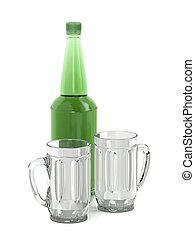 Big beer bottle and two mugs