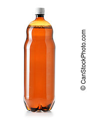 Big beer bottle - Two litres plastic beer bottle isolated...