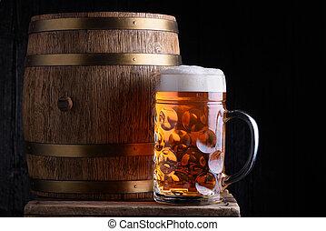 Big beer mug and beer barrel