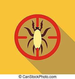 Big beetle icon, flat style