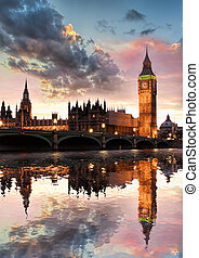 Big Ben against colorful sunset in London, England, UK