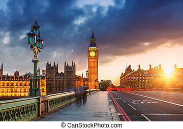 big ben, an, sonnenuntergang, london