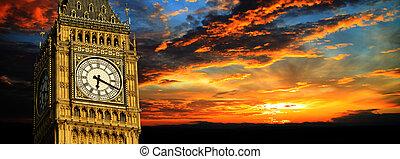 big ben, an, sonnenuntergang, panorama, london