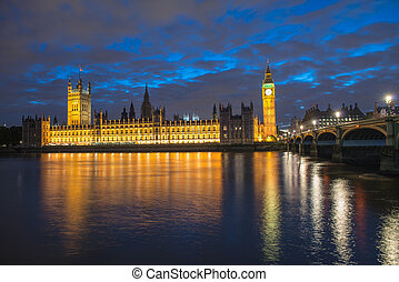 Big Ben and House of Parliament at River Thames...