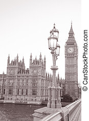 Big Ben and Houses of Parliament in London in Black and White Sepia Tone