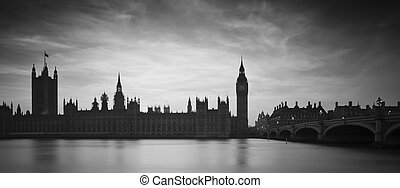 Big Ben and Houses of Parliament London during Winter sunset in black and white