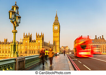 Big Ben and red double-decker bus, London