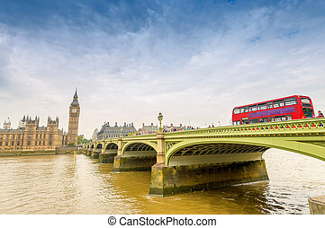 Big Ben and red double-decker in London, UK