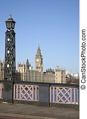 Big Ben and the Houses of Parliament with Lambeth Bridge,...