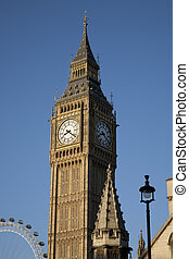 Big Ben and the London Eye; London, England, UK