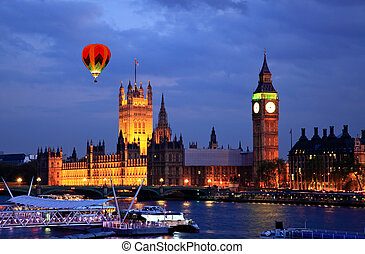 Big Ben and Westminster at night in London