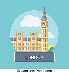 Big Ben and Westminster Bridge, London, UK. Poster concept in cartoon style with text