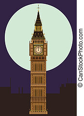 The London landmark Big Ben Clocktower at miidnight by a full moon.