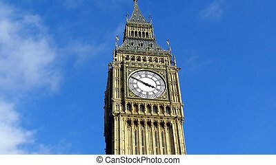 Big Ben at the Houses of Parliament, Westminster Palace, London, UK - (16:9 ratio)