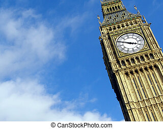 Big Ben at the Houses of Parliament, Westminster Palace,...
