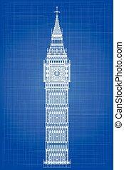 Big Ben Blueprint - The London landmark Big Ben Clocktower...