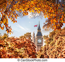 Big Ben clock against autumn leaves in London, England, UK