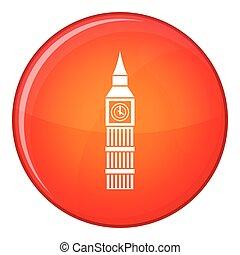 Big Ben clock icon, flat style