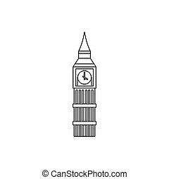 Big Ben clock icon, outline style