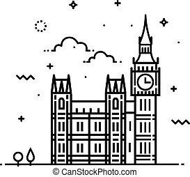 Big ben clock icon. sign design