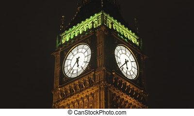 big ben clock in london, during 30 minutes speeded up