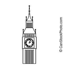 big ben clock isolated icon