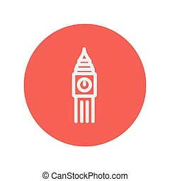 Big ben clock thin line icon