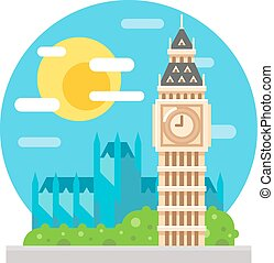 Big Ben clock tower flat design landmark