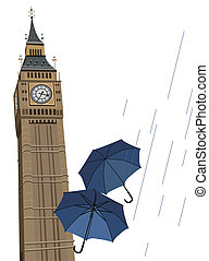 Big Ben Clock Tower - Illustration of Big Ben tower with...