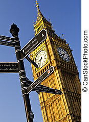 Big Ben clock tower with signpost in London